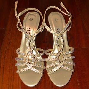 Sparkly champagne rosy gold crisscross high heel